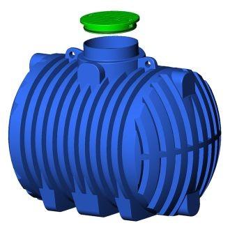 Regen-Brauchwassertank 8000 L-XXL L2,6m H2,6m Ø2,3m DOM-mittig blau Artnr. 214310310