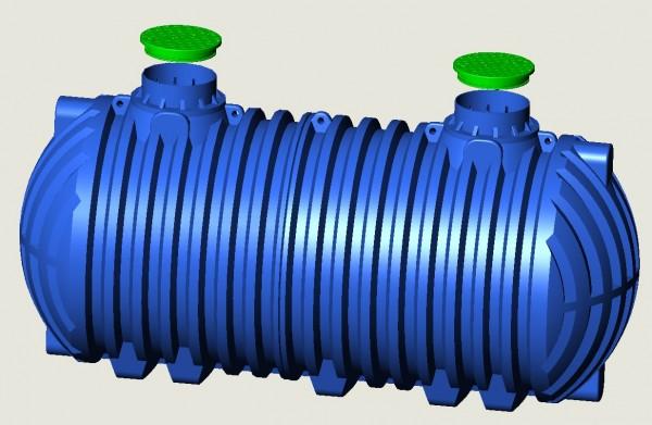 Regen-Brauchwassertank 40000 L-XXL L11,20m H2,6m Ø2,3m DOM-je 1x seitlich blau Artnr. 214311200
