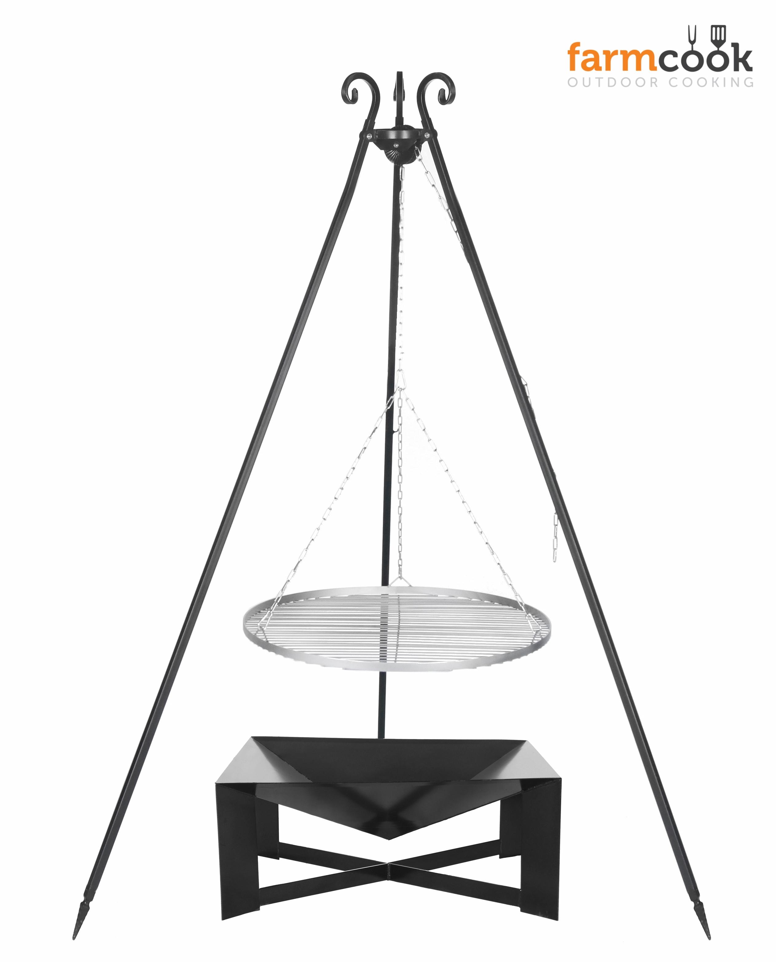farmcook schwenkgrill feuerschale pan34 edelstahlrost 70 dreibein viking artnr e00773. Black Bedroom Furniture Sets. Home Design Ideas